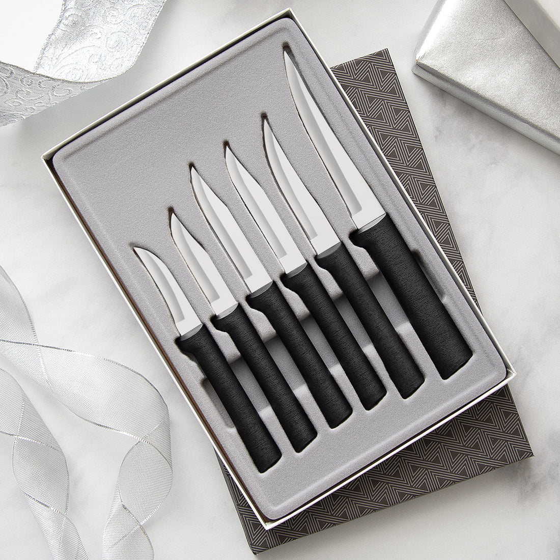 RADA CUTLERY S52 ALL STAR 6 PIECE PARING GIFT SET SILVER HANDLE MADE IN USA