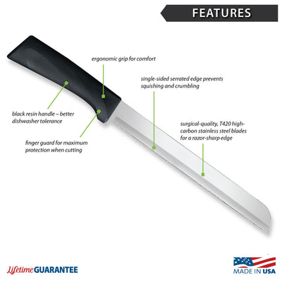 "Features diagram for Anthem Wave 8"" Bread knife with Made in USA and Lifetime Guarantee logos."