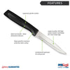 Features diagram for Anthem Wave Serrated Steak knife with Made in USA and Lifetime Guarantee logos.