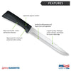 Features diagram for Anthem Wave Slicer knife with Made in USA and Lifetime Guarantee logos.