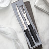 Carving Gift Set with black handles with carver knife and carving fork in gift box.