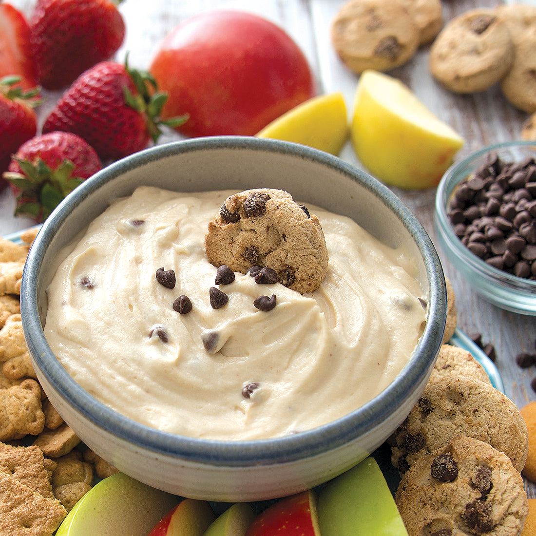 Cookie Dough Sweet Dip served with mini chocolate chip cookies.