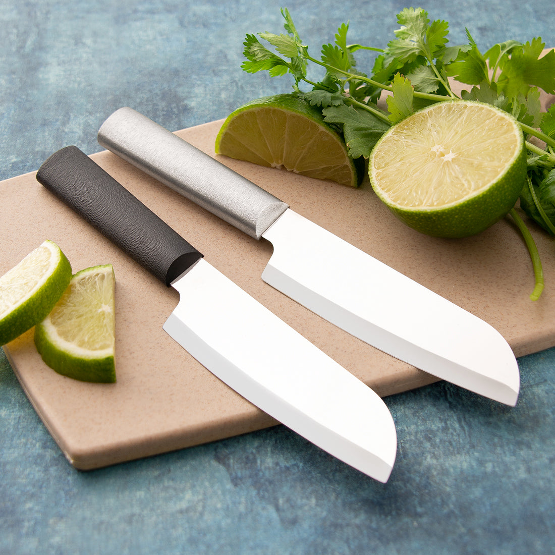 Rada Cutlery Cook's Utility knife with silver and black handle options.