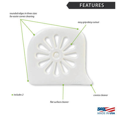 Features diagram of white pan scraper with Made in the USA logo.