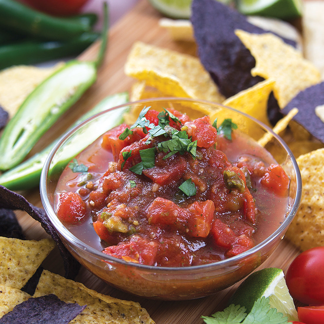 Garden Fresh Salsa Dip mixed with petite tomatoes and served with tortilla chips.
