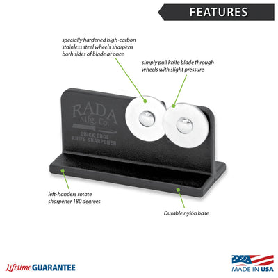 Features diagram for Quick Edge Knife Sharpener with Made in USA and Lifetime Guarantee logos.