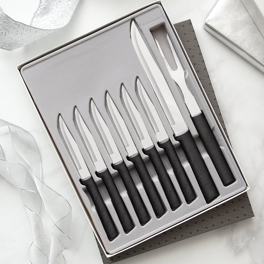 Rada Cutlery Meat Lover's Set with silver handles in black-lined gift box