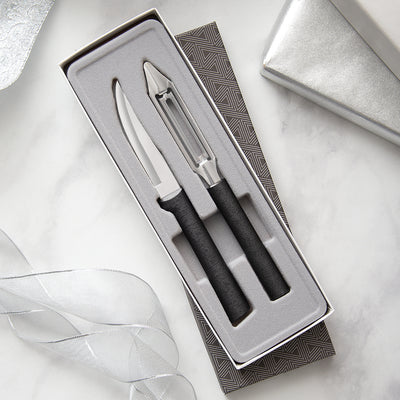 Pare & Peel Gift Set with black handles with paring knife and vegetable peeler in gift box.