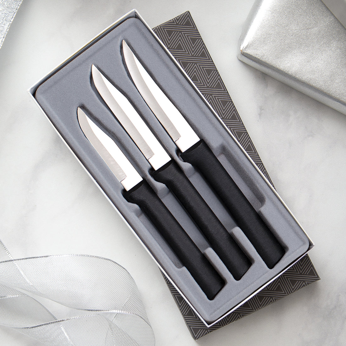 Paring Knives Galore Gift Set with silver handles includes three paring knives in gift box.