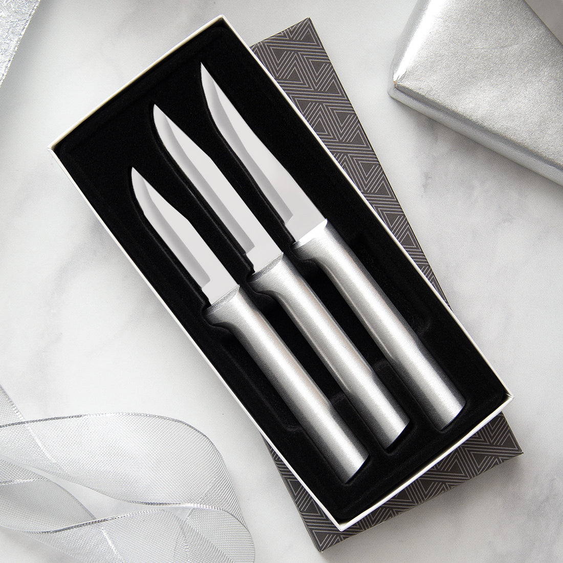 Paring knives Galore Gift Set with silver handles with three paring knives in gift box.