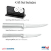 Illustration of knives in Paring Pair Plus Sharpener Gift Set and logos for Made in USA and Lifetime Guarantee.