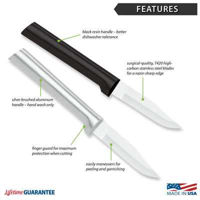 Features diagram for Peeling Paring knife with Made in USA and Lifetime Guarantee logos.