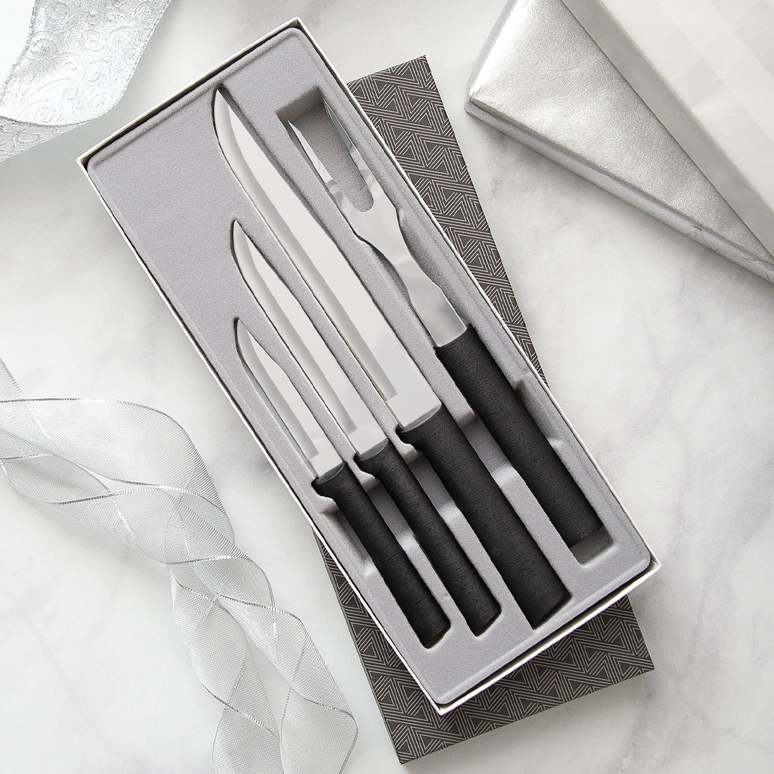 Rada Cutlery Prepare Then Carve Gift Set with black handles.