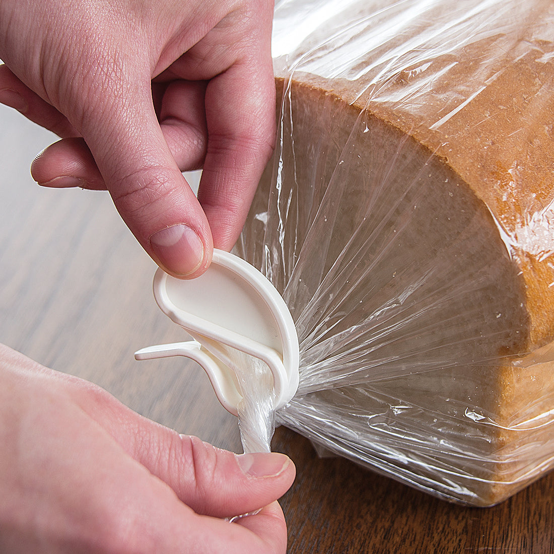 White quick grip clip sealing bread bag.