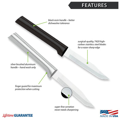 Features diagram for Serrated Regular Paring knife with Made in USA and Lifetime Guarantee logos.