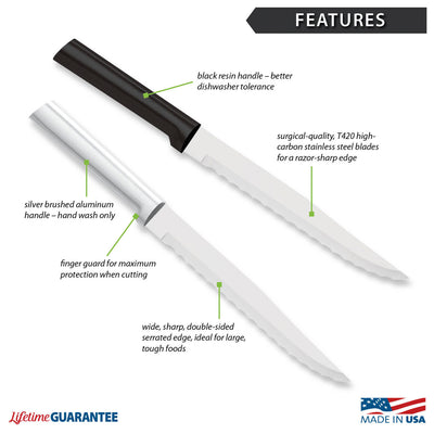 Features diagram for Serrated Slicer with Made in USA and Lifetime Guarantee logos.