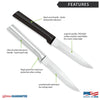 Features diagram for Serrated Steak knife with Made in USA and Lifetime Guarantee logos.