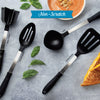 Nonscratch utensils from Rada Cutlery including turner, ladle, meat chopper and slotted spoon.