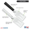 Features diagram for Spatula with Made in USA and Lifetime Guarantee logos.