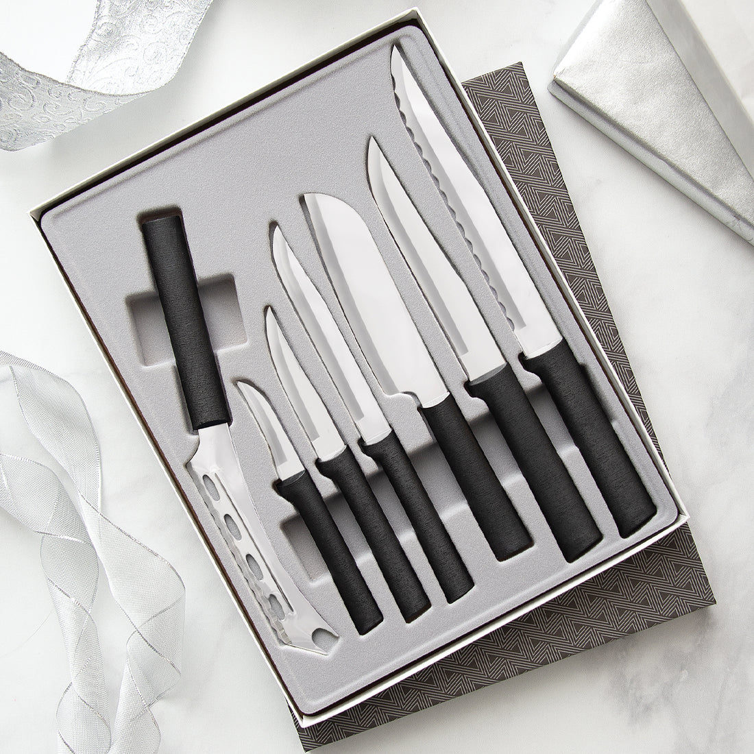 Rada Cutlery The Starter Gift Set Part 2 with black handles.