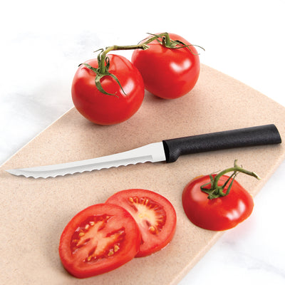 Tomato Slicer with black handle and sliced tomatoes.