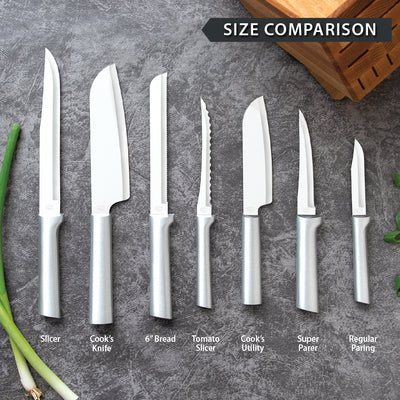 Rada Cutlery silver handle knifes laid flat for size comparison.