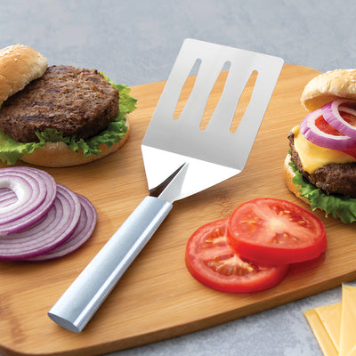 Silver steel Turnover with silver handle for burgers.