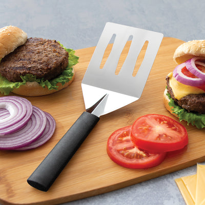 Rada Cutlery turnover with black handle with burgers.