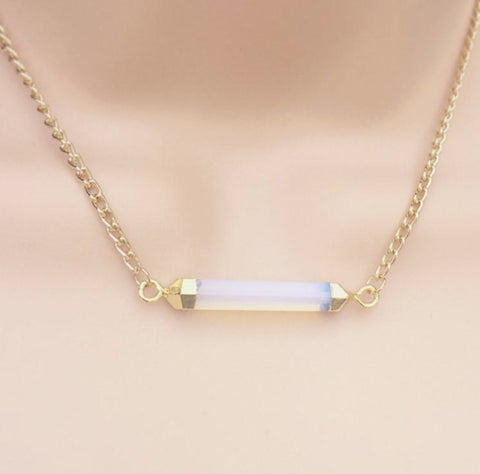 Gilded Femme Violet Opal Bar Necklace