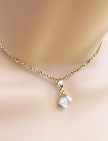 Gilded Femme Marble Diamond Drop Necklace