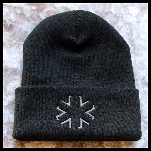 AMA Star Cuffed Knit Cap - Black