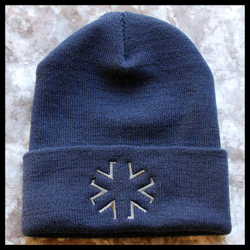 AMA Star Cuffed Knit Cap - Navy