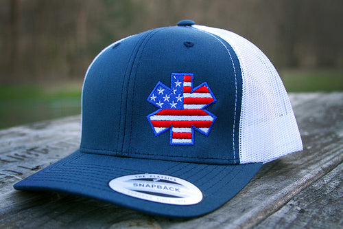 American Flag Star Flexfit  - Navy/White