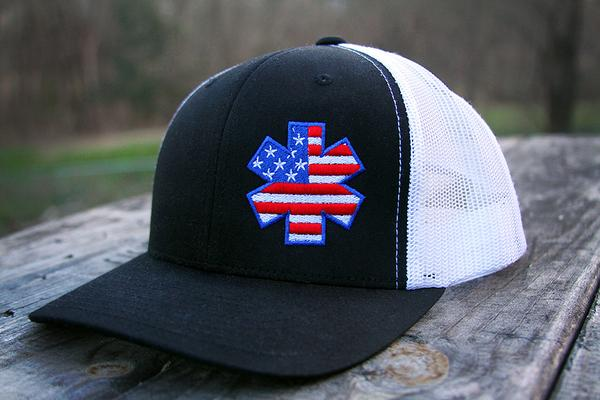 AMA American Flag Star Snapback - Black/White