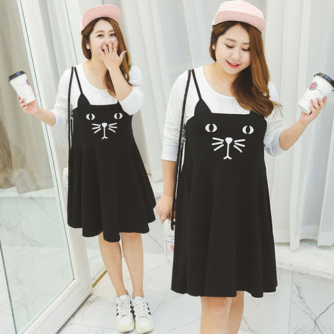 Long Sleeve Black Cat Dress [plus size]