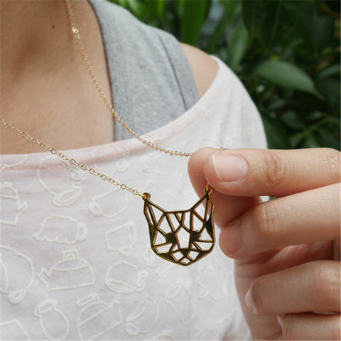 Origami Cat Necklace in Gold or Silver