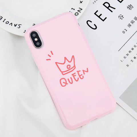 King & Queen iPhone telefoonhoesje - Roze en zwart - iPhone 6 6S - 7 8 Plus iPhone X 10