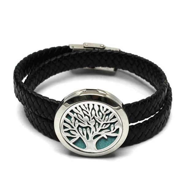 Black PU Leather Belt Bracelet Aromatherapy Stainless Steel  Essential Oils Wrap 30mm Hollow Tree Pattern