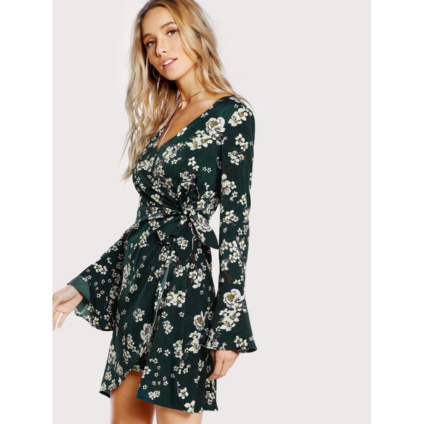 Bell Sleeve Surplice Wrap Floral Dress