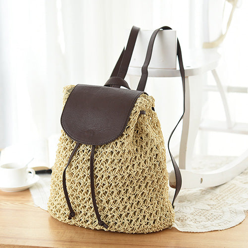 Retro Crochet Straw Beach Woven Knit Women Drawstring Leather  Mini Backpack