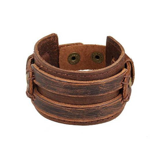 Handmade Men Alloy Buckle Punk Leather Wristband Bracelets Bangles