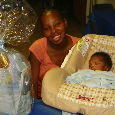 Give a gift that matters: a donation in your friend's name. This gift will provide a new mother a baby bag filled with bibs, baby blankets, pacifiers, wash clot