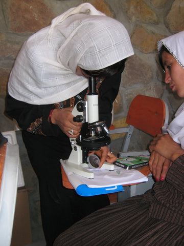 Give a gift that matters: a donation in your friend's name. Solar lit microscopes are available in Kabul. We will buy them there and haul them to teachers and s