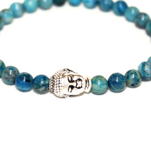Load image into Gallery viewer, Blue Agate X Silver Buddha Bracelet