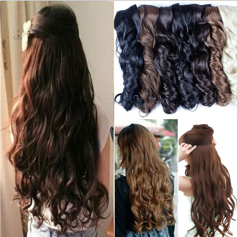 Curly Thick Hairpiece Clip In Hair Extensions Heat Resistant Fiber