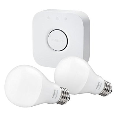 Philips Hue White A19 Starter Kit with two A19 LED light bulbs and bridge (hub), Works with Alexa