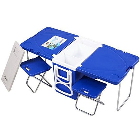 Giantex Multi Function Rolling Cooler with Table and 2 Chairs Picnic Camping Outdoor