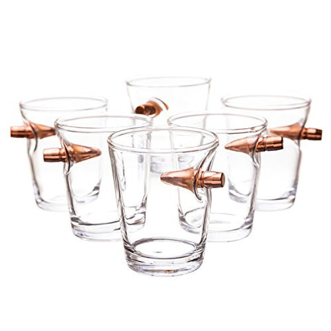 .308 Real Bullet Handblown Shot Glass - Set of 6