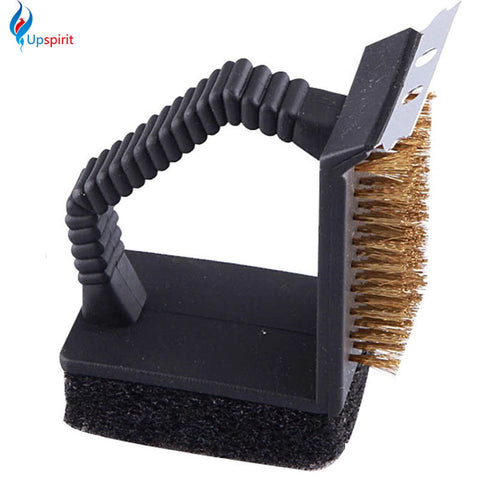 BBQ accessories: triple barbecue grill brush copper steel cleaning brush.