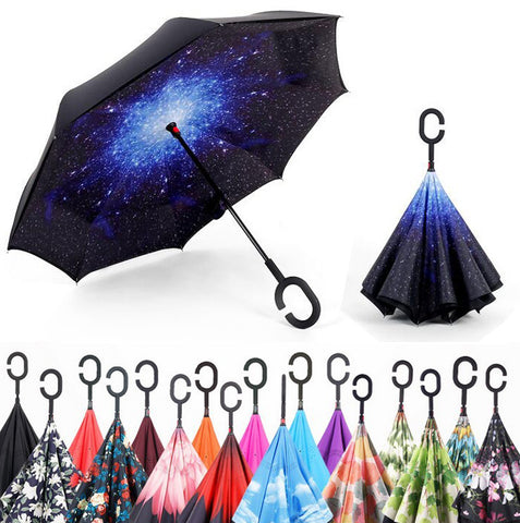 Windproof Reverse Folding Double Layer Umbrella w/  Self Stand.